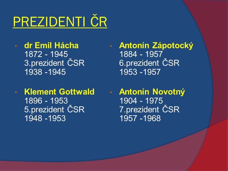 PREZIDENTI ČR dr Emil Hácha 1872 - 1945 3.prezident ČSR 1938 -1945