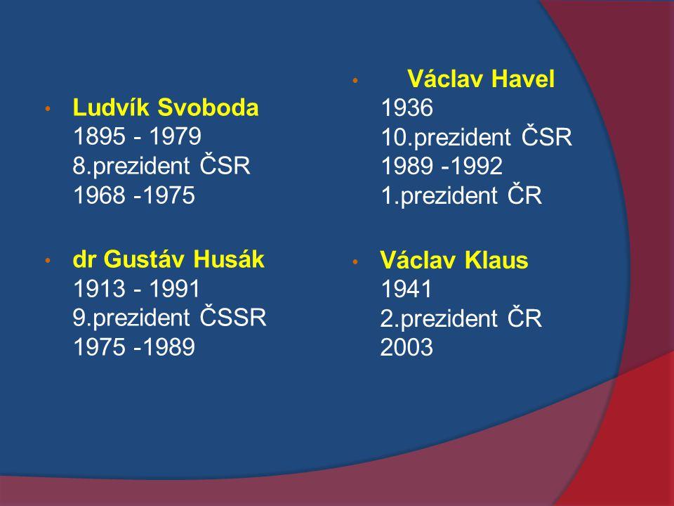 Václav Havel 1936 10.prezident ČSR 1989 -1992 1.prezident ČR