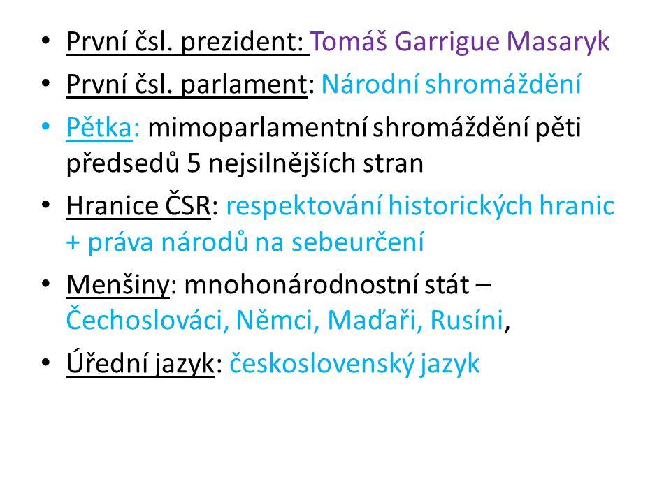První čsl. prezident: Tomáš Garrigue Masaryk