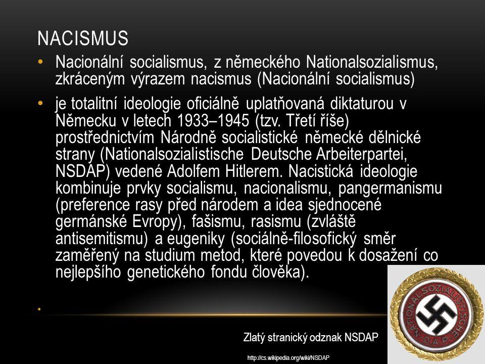nacismus Nacionální socialismus, z německého Nationalsozialismus, zkráceným výrazem nacismus (Nacionální socialismus)