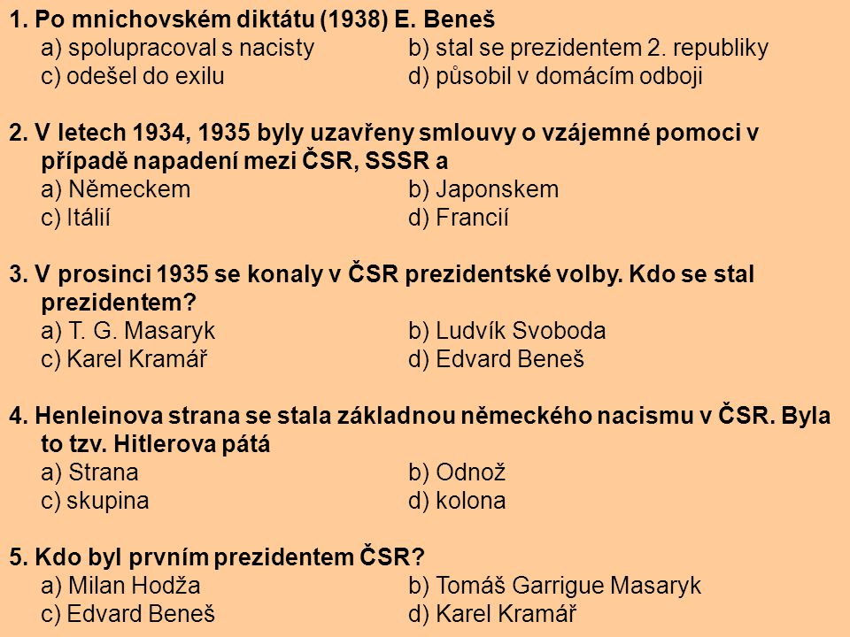 1. Po mnichovském diktátu (1938) E. Beneš