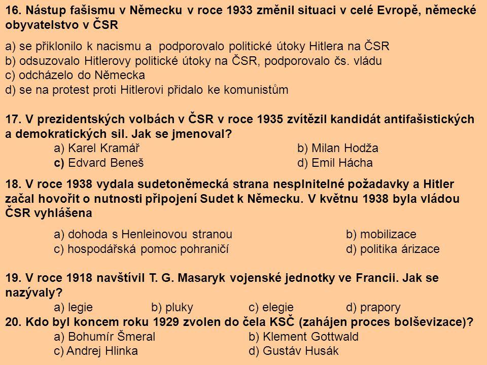 16. Nástup fašismu v Německu v roce 1933 změnil situaci v celé Evropě, německé obyvatelstvo v ČSR