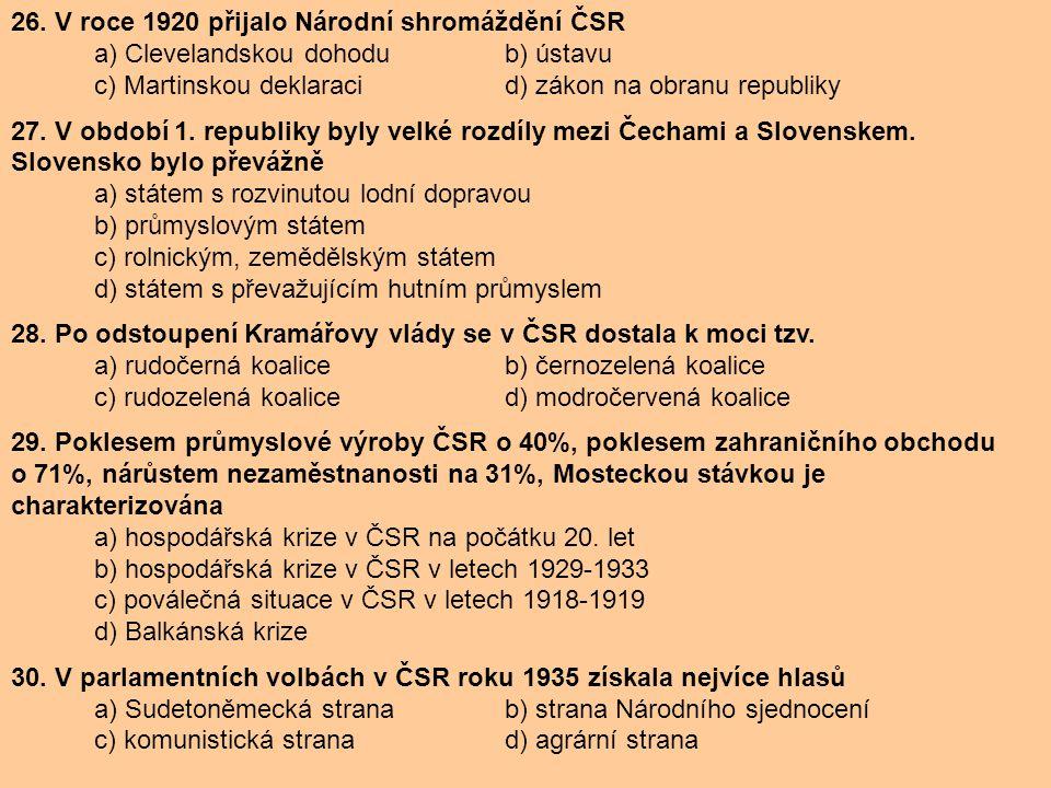 26. V roce 1920 přijalo Národní shromáždění ČSR