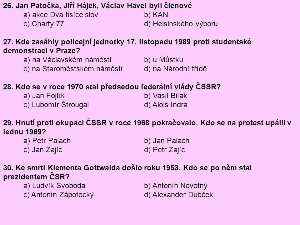 26. Jan Patočka, Jiří Hájek, Václav Havel byli členové
