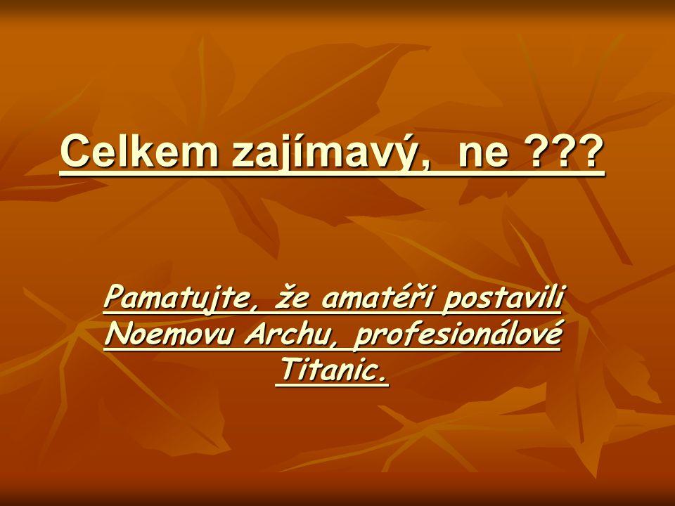 Pamatujte, že amatéři postavili Noemovu Archu, profesionálové Titanic.