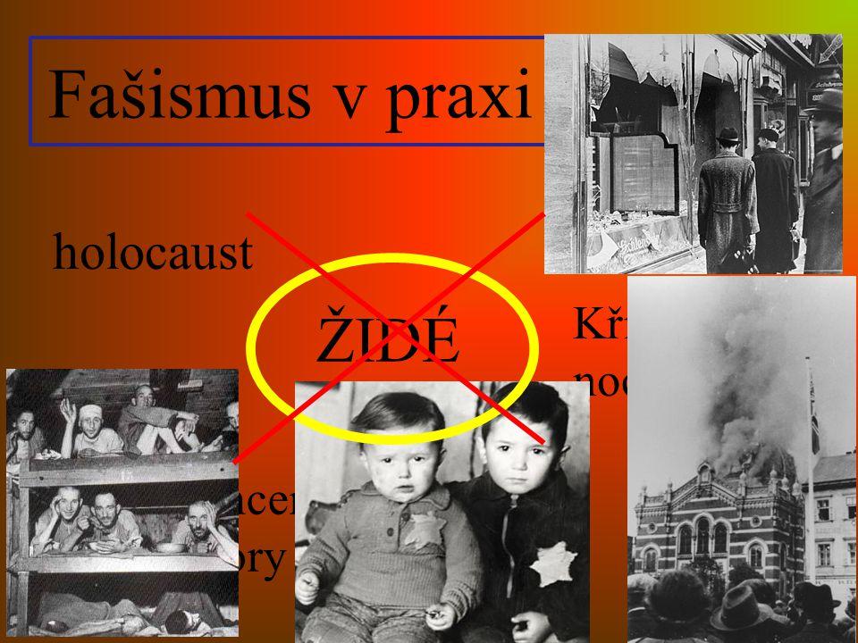 Fašismus v praxi holocaust Křišťálová noc ŽIDÉ Koncentrační tábory