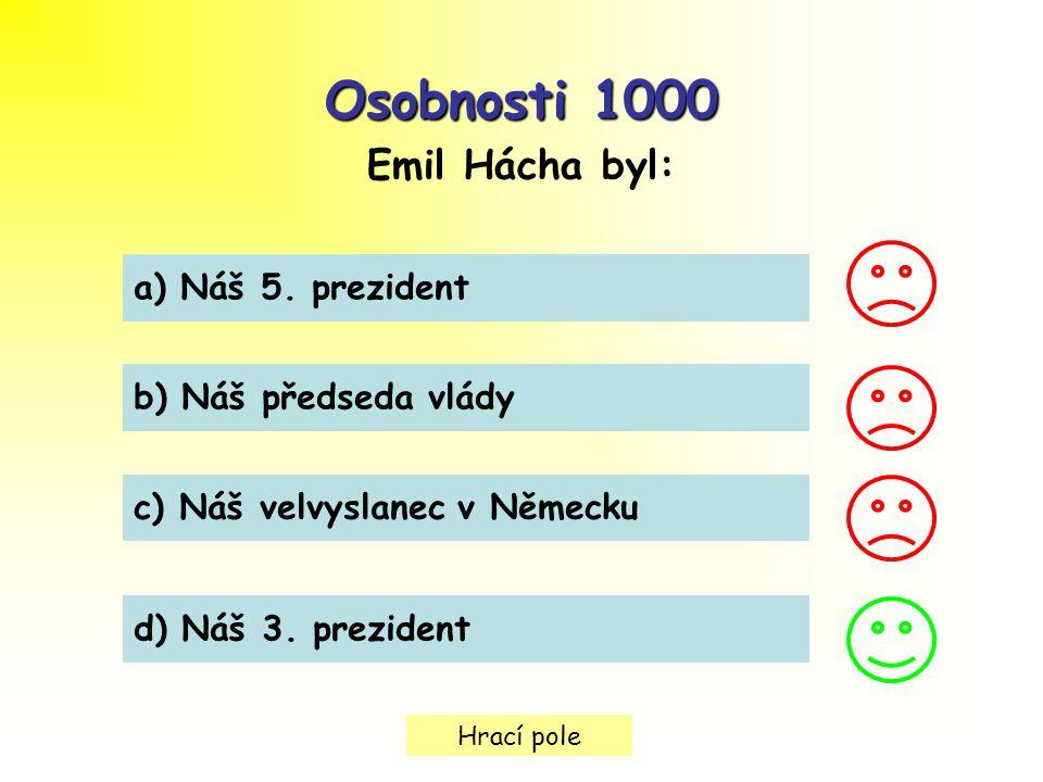 Osobnosti 1000 Emil Hácha byl: a) Náš 5. prezident