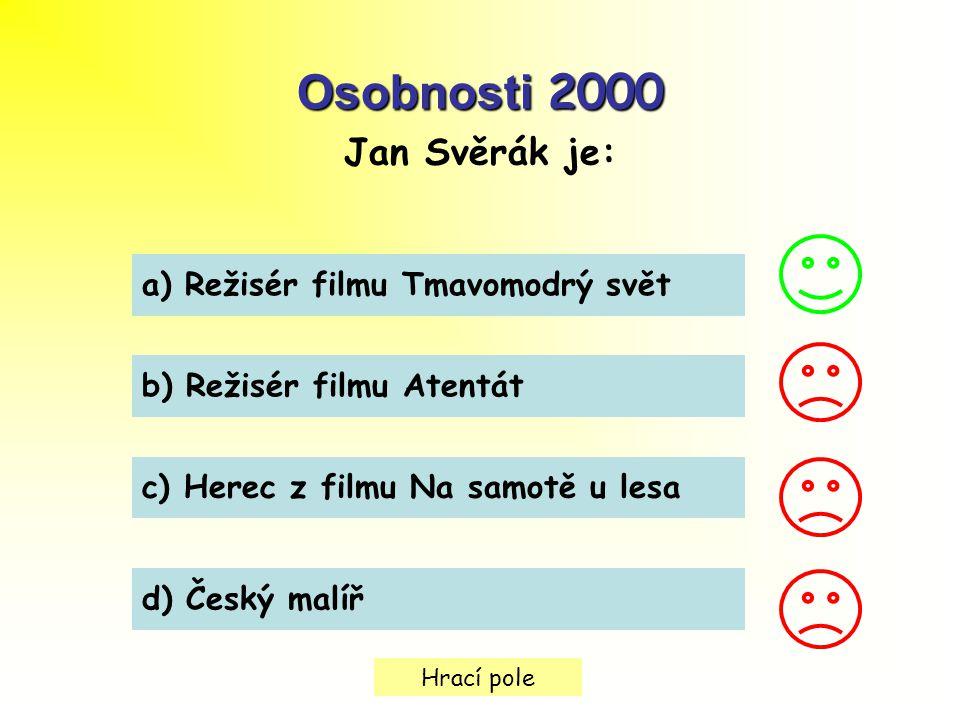 Osobnosti 2000 Jan Svěrák je: a) Režisér filmu Tmavomodrý svět