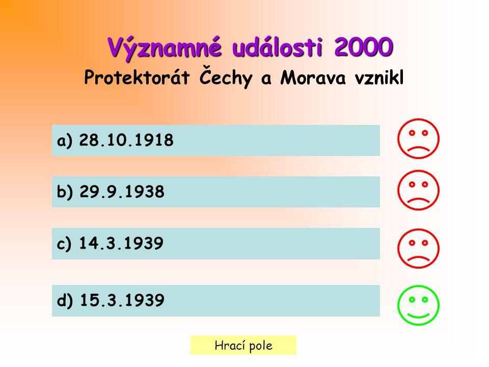 Protektorát Čechy a Morava vznikl