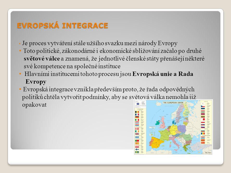 EVROPSKÁ INTEGRACE Je proces vytváření stále užšího svazku mezi národy Evropy. Toto politické, zákonodárné i ekonomické sbližování začalo po druhé.