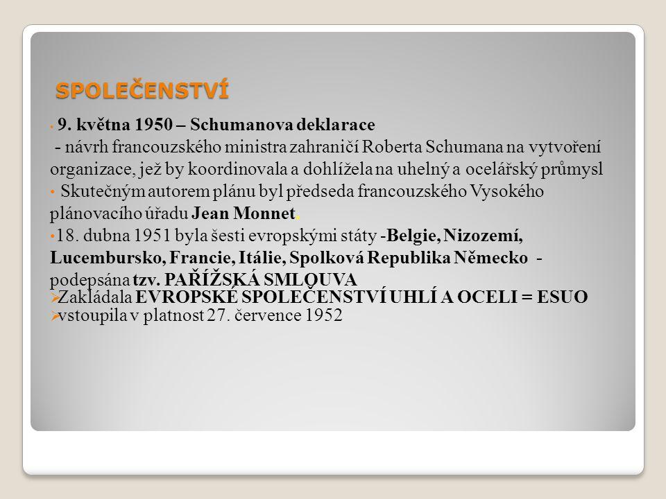 SPOLEČENSTVÍ 9. května 1950 – Schumanova deklarace.