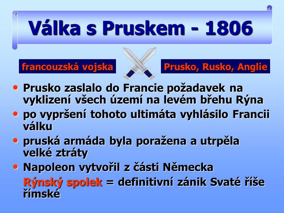 Válka s Pruskem - 1806 francouzská vojska. Prusko, Rusko, Anglie. Prusko zaslalo do Francie požadavek na vyklizení všech území na levém břehu Rýna.