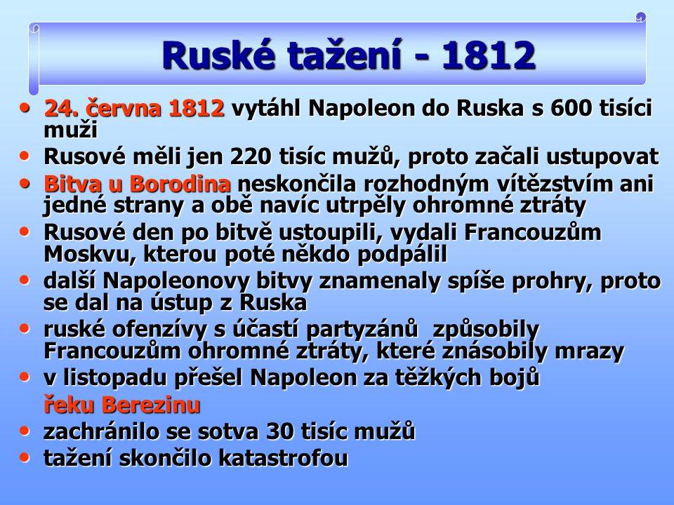 Ruské tažení - 1812 24. června 1812 vytáhl Napoleon do Ruska s 600 tisíci muži. Rusové měli jen 220 tisíc mužů, proto začali ustupovat.