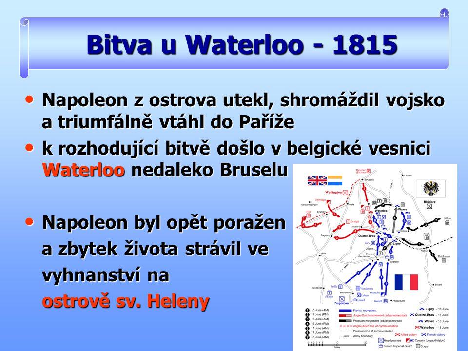 Bitva u Waterloo - 1815 Napoleon z ostrova utekl, shromáždil vojsko a triumfálně vtáhl do Paříže.