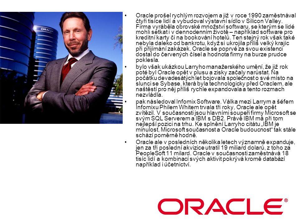 Oracle prošel rychlým rozvojem a již v roce 1990 zaměstnával čtyři tisíce lidí a vybudoval výstavní sídlo v Silicon Valley. Firma vyráběla obrovské množství softwaru, se kterým se lidé mohli setkat i v dennodenním životě – například software pro kreditní karty či na bookování hotelů. Ten stejný rok však také nebyla daleko od bankrotu, když si ukrojila příliš velký krajíc při přijímání zakázek. Oracle se poprvé za svou existenci dostal do červených čísel a hodnota firmy na burze prudce poklesla.
