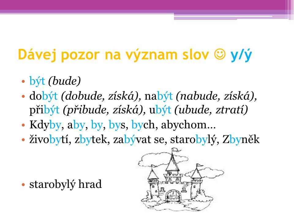 Dávej pozor na význam slov  y/ý