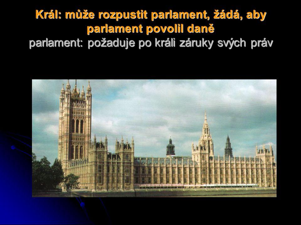 Král: může rozpustit parlament, žádá, aby parlament povolil daně parlament: požaduje po králi záruky svých práv