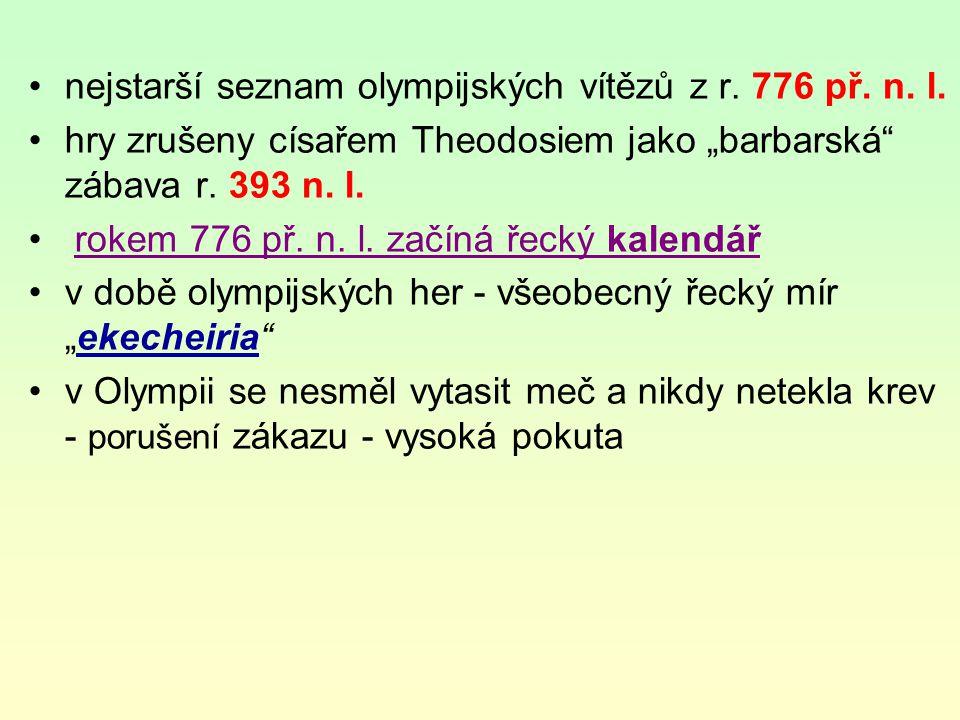 nejstarší seznam olympijských vítězů z r. 776 př. n. l.