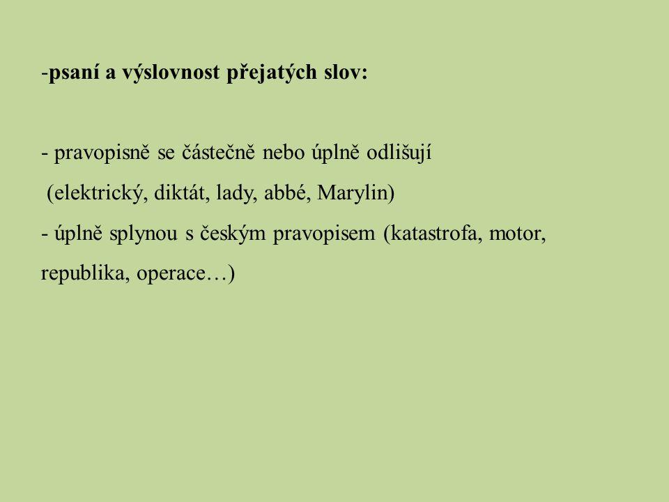 psaní a výslovnost přejatých slov: