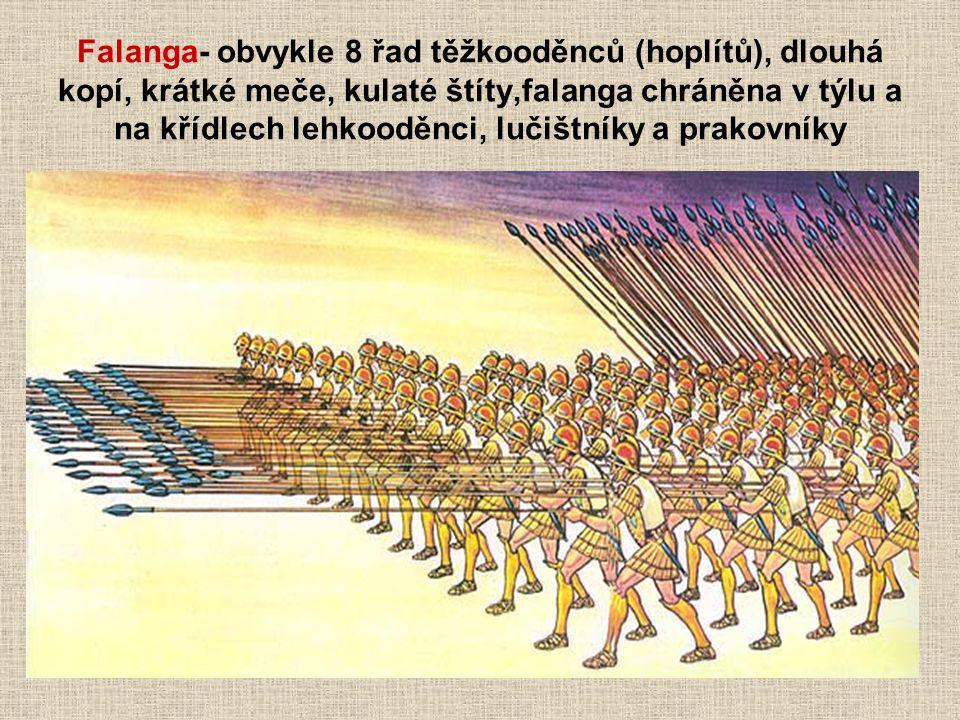 Falanga- obvykle 8 řad těžkooděnců (hoplítů), dlouhá kopí, krátké meče, kulaté štíty,falanga chráněna v týlu a na křídlech lehkooděnci, lučištníky a prakovníky