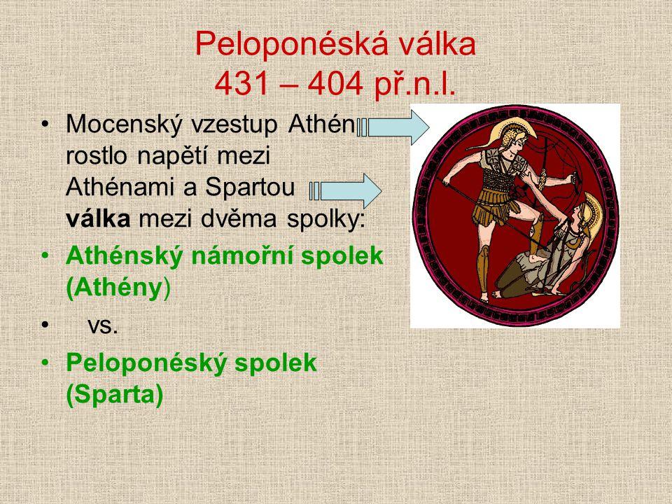 Peloponéská válka 431 – 404 př.n.l.
