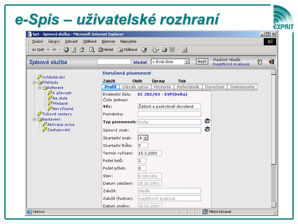 e-Spis – uživatelské rozhraní