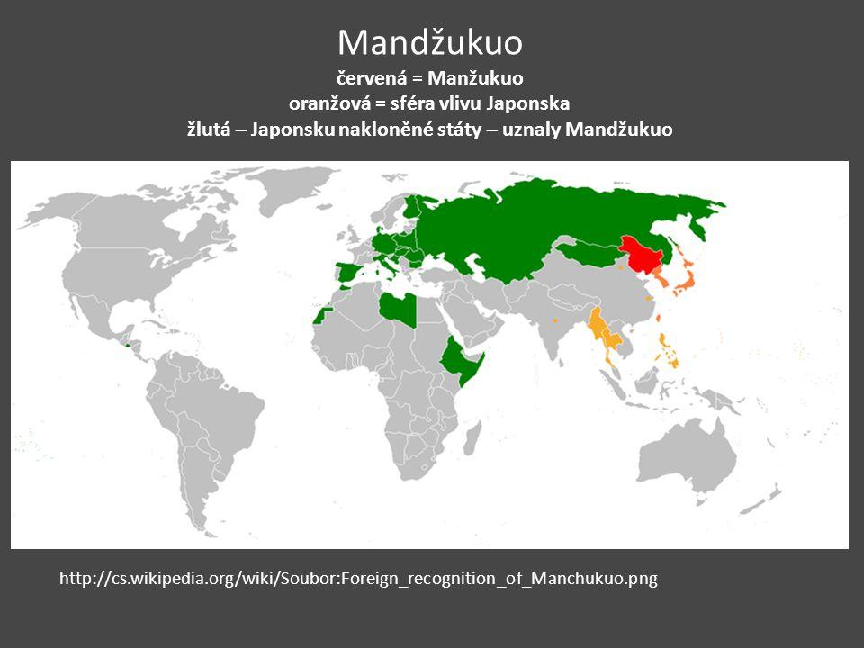 Mandžukuo červená = Manžukuo oranžová = sféra vlivu Japonska žlutá – Japonsku nakloněné státy – uznaly Mandžukuo