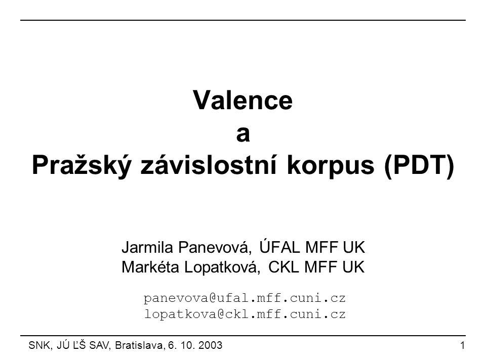 Valence a Pražský závislostní korpus (PDT)