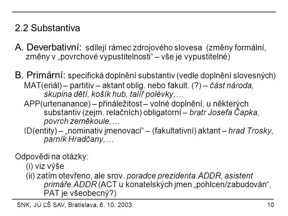 """2.2 Substantiva A. Deverbativní: sdílejí rámec zdrojového slovesa (změny formální, změny v """"povrchové vypustitelnosti – vše je vypustitelné)"""
