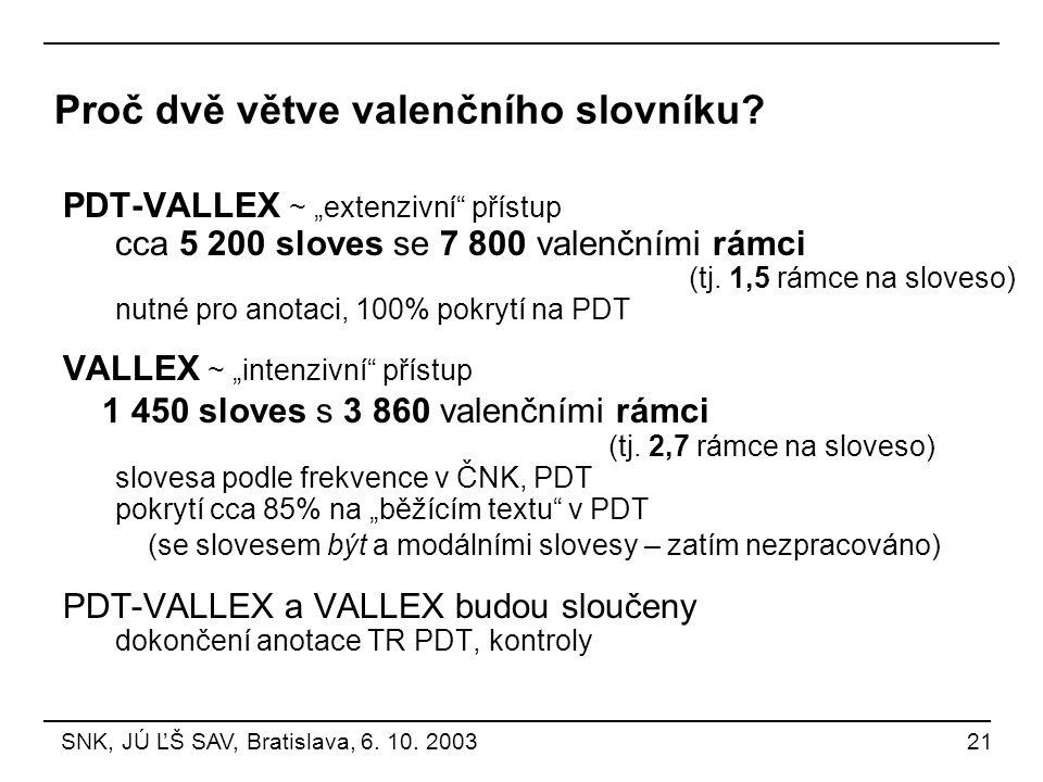Proč dvě větve valenčního slovníku