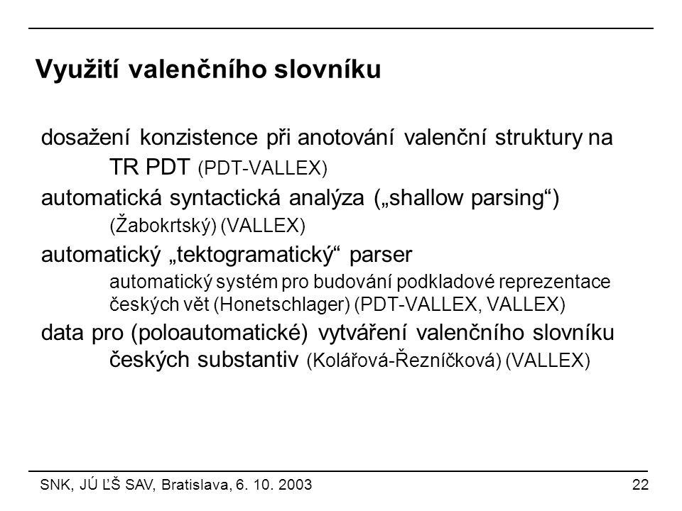 Využití valenčního slovníku