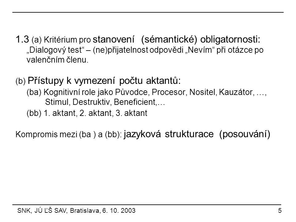 """1.3 (a) Kritérium pro stanovení (sémantické) obligatornosti: """"Dialogový test – (ne)přijatelnost odpovědi """"Nevím při otázce po valenčním členu."""