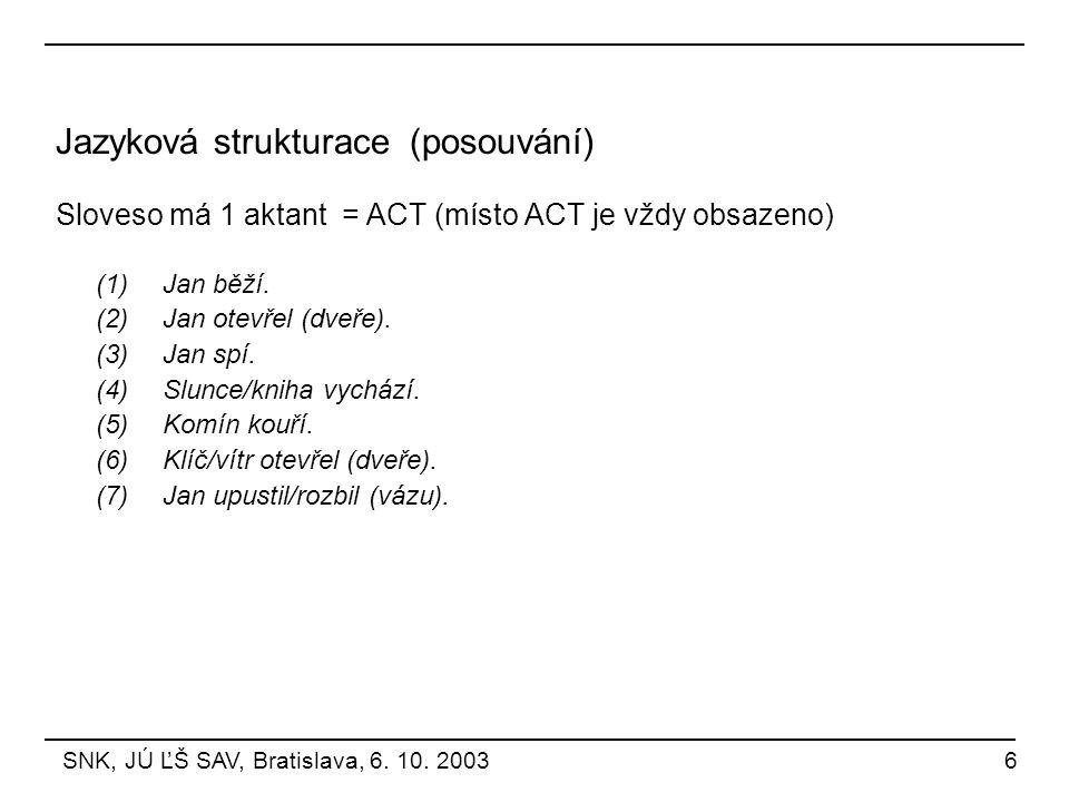 Jazyková strukturace (posouvání)