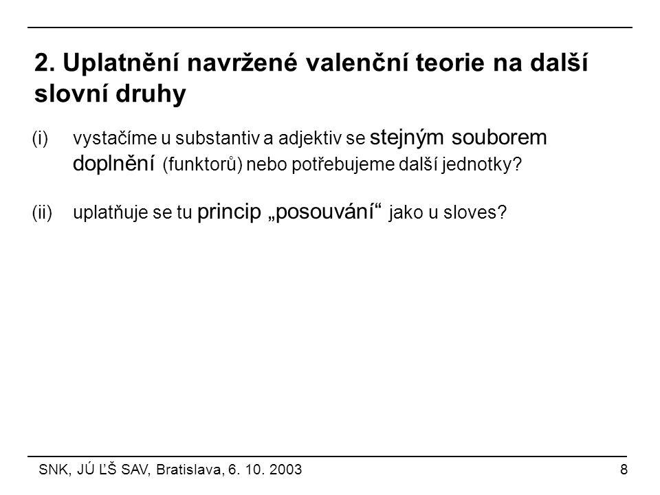 2. Uplatnění navržené valenční teorie na další slovní druhy