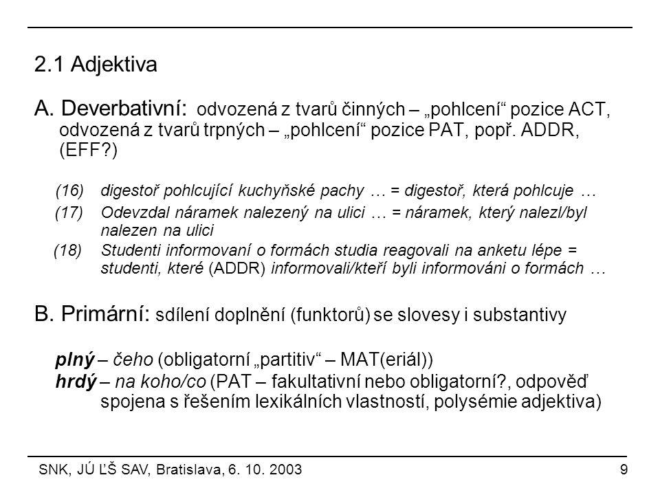 B. Primární: sdílení doplnění (funktorů) se slovesy i substantivy