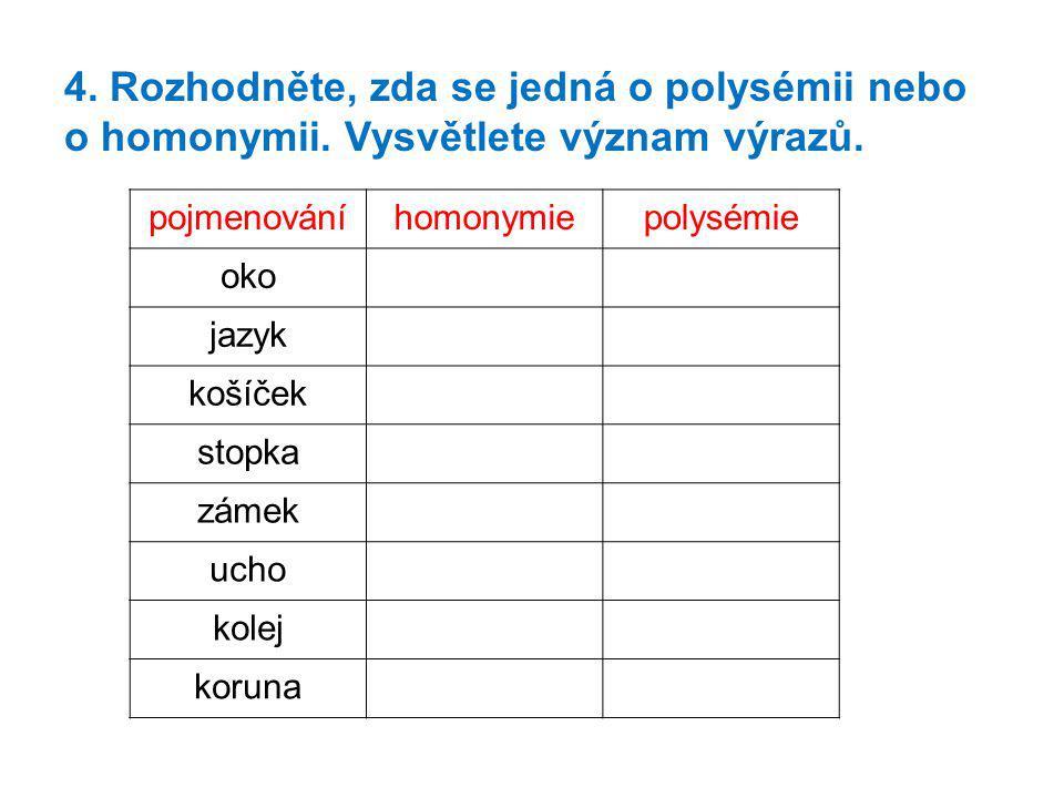 4. Rozhodněte, zda se jedná o polysémii nebo o homonymii