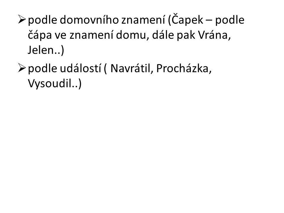 podle domovního znamení (Čapek – podle čápa ve znamení domu, dále pak Vrána, Jelen..)