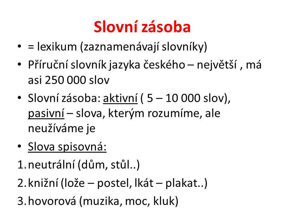 Slovní zásoba = lexikum (zaznamenávají slovníky)