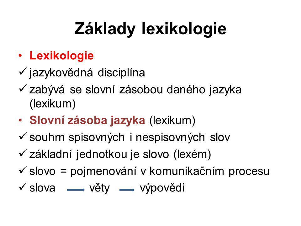 Základy lexikologie Lexikologie jazykovědná disciplína