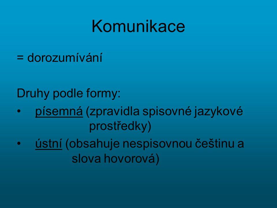 Komunikace = dorozumívání Druhy podle formy: