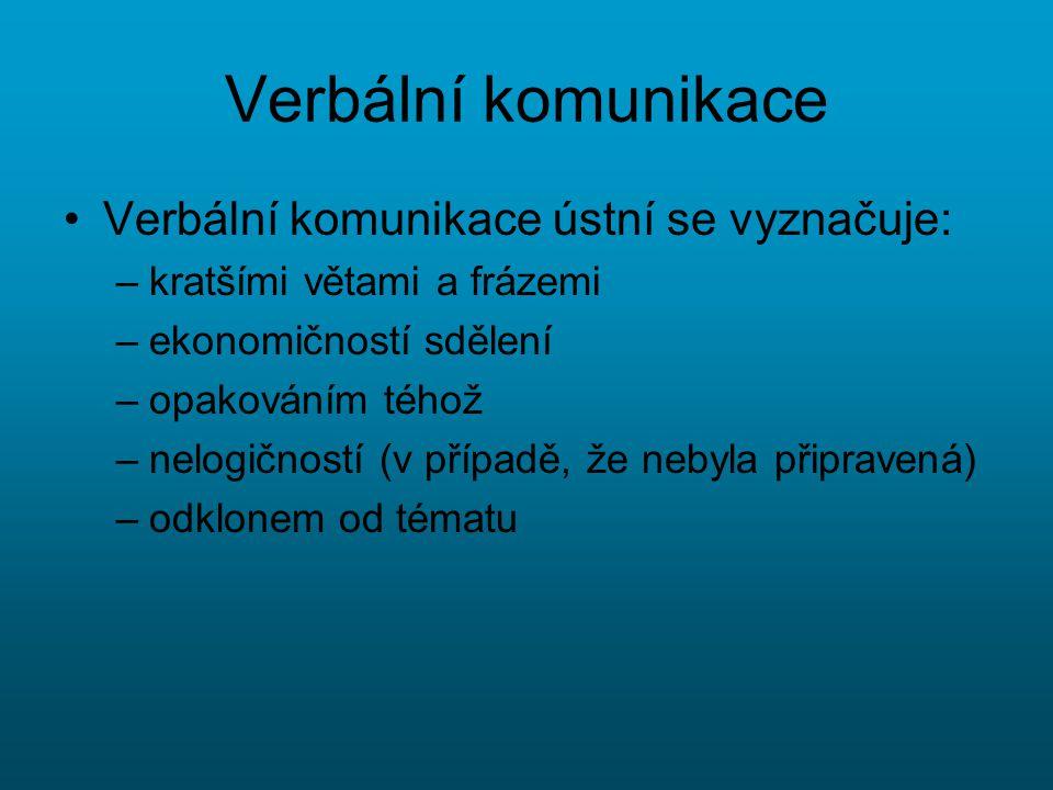 Verbální komunikace Verbální komunikace ústní se vyznačuje: