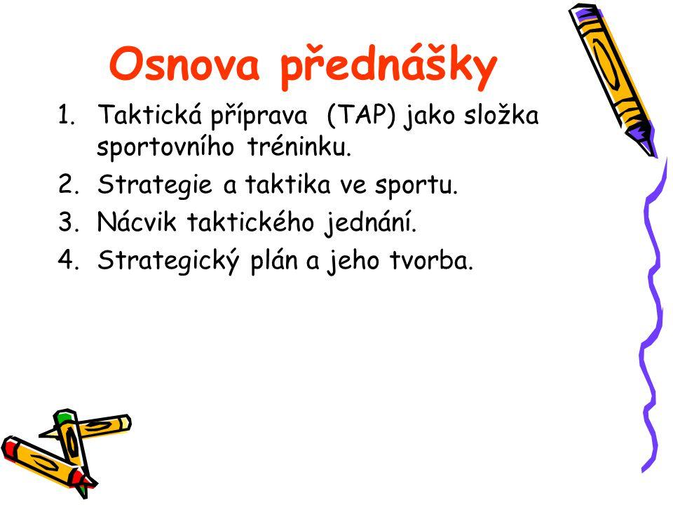 Osnova přednášky Taktická příprava (TAP) jako složka sportovního tréninku. Strategie a taktika ve sportu.