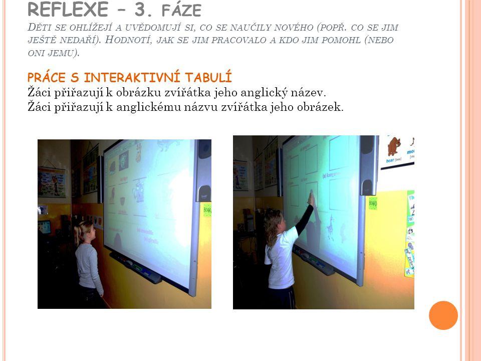 REFLEXE – 3. fáze Děti se ohlížejí a uvědomují si, co se naučily nového (popř. co se jim ještě nedaří). Hodnotí, jak se jim pracovalo a kdo jim pomohl (nebo oni jemu).