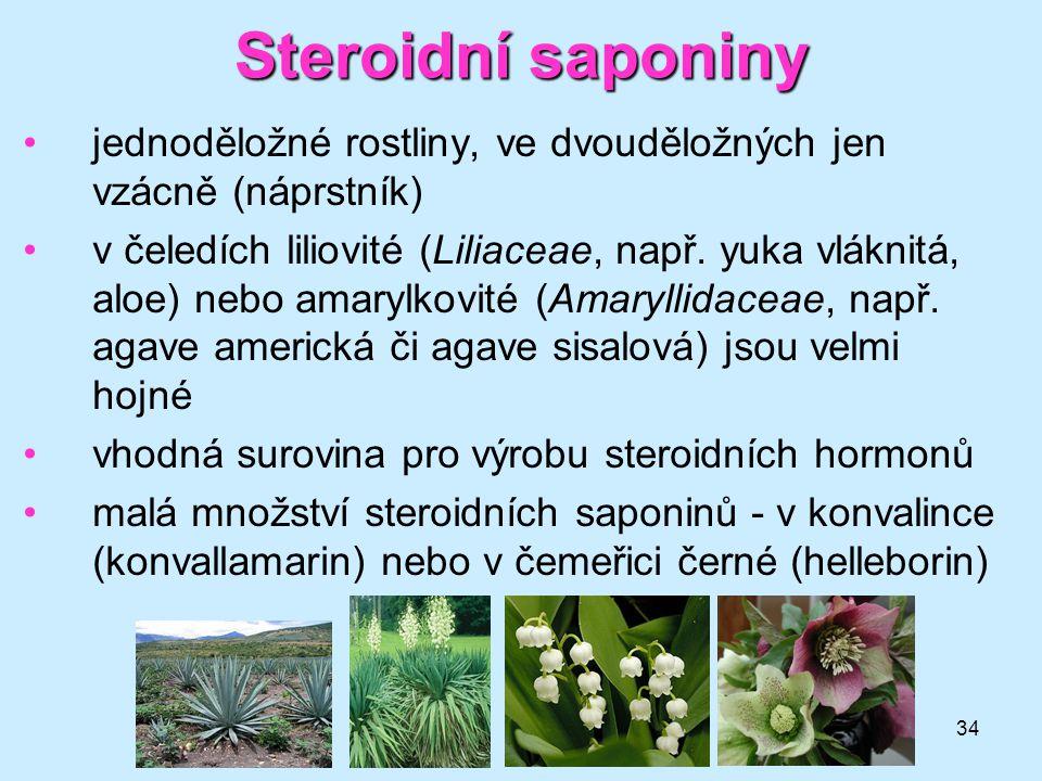 Steroidní saponiny jednoděložné rostliny, ve dvouděložných jen vzácně (náprstník)