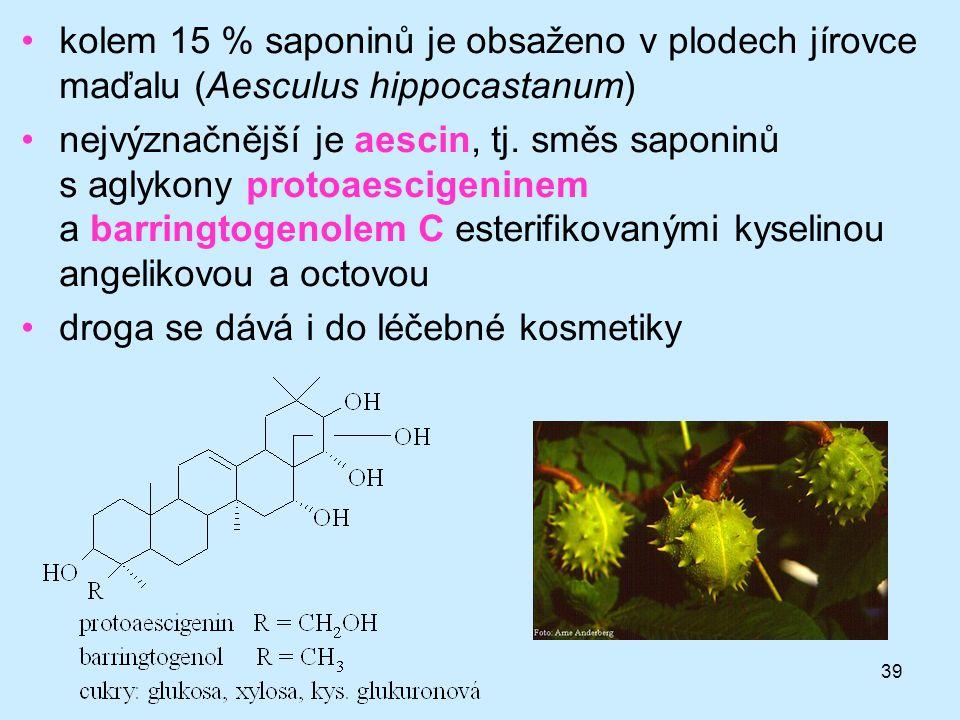 kolem 15 % saponinů je obsaženo v plodech jírovce maďalu (Aesculus hippocastanum)