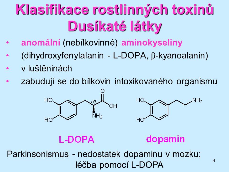 Klasifikace rostlinných toxinů Dusíkaté látky