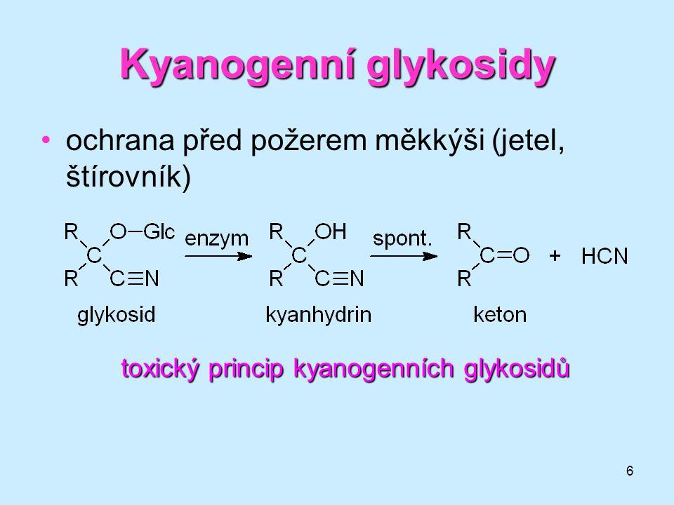Kyanogenní glykosidy ochrana před požerem měkkýši (jetel, štírovník)