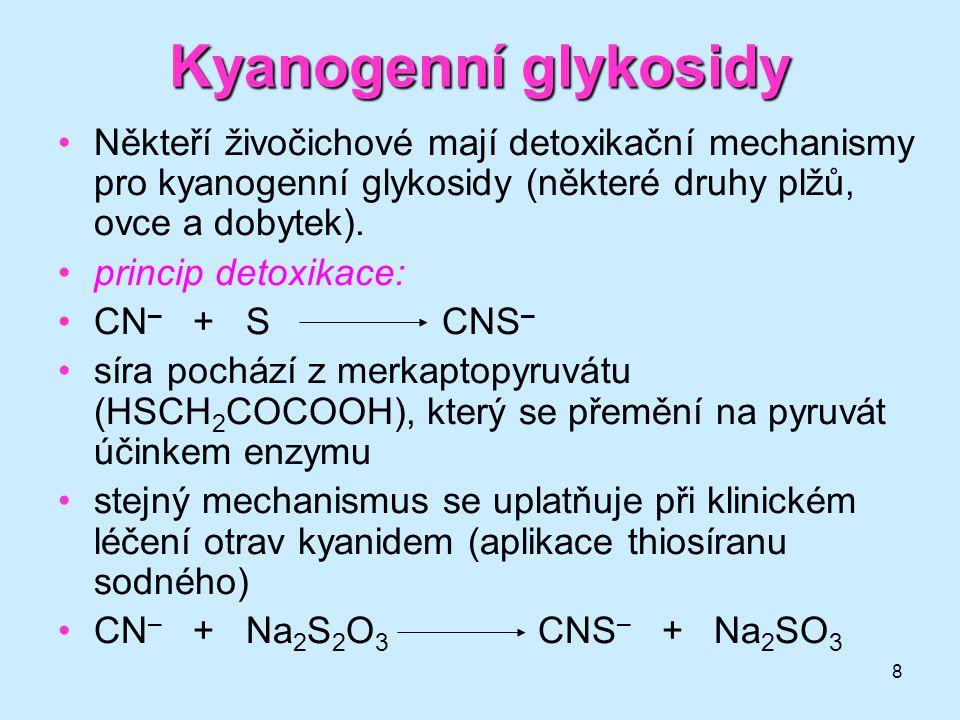 Kyanogenní glykosidy Někteří živočichové mají detoxikační mechanismy pro kyanogenní glykosidy (některé druhy plžů, ovce a dobytek).
