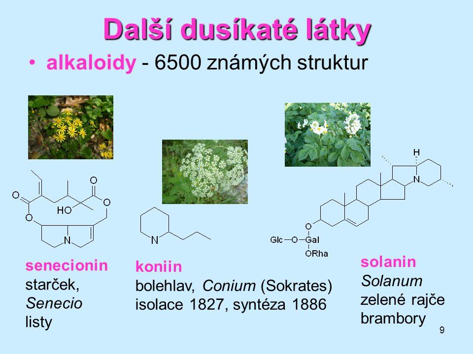 Další dusíkaté látky alkaloidy - 6500 známých struktur solanin