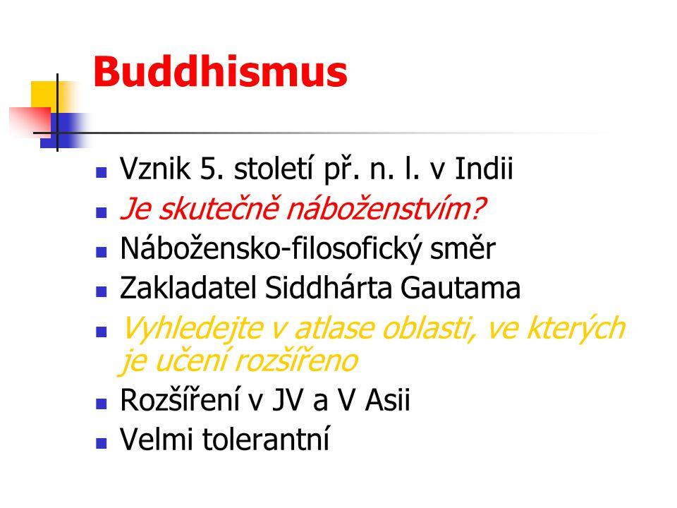 Buddhismus Vznik 5. století př. n. l. v Indii